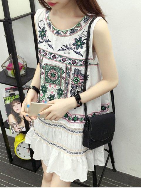 women Embroidered Ruffle Ethnic Tank Dress - WHITE 2XL Mobile