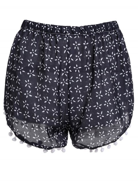womens Tiny Floral Print Irregular Hem Laciness Shorts - CADETBLUE M Mobile