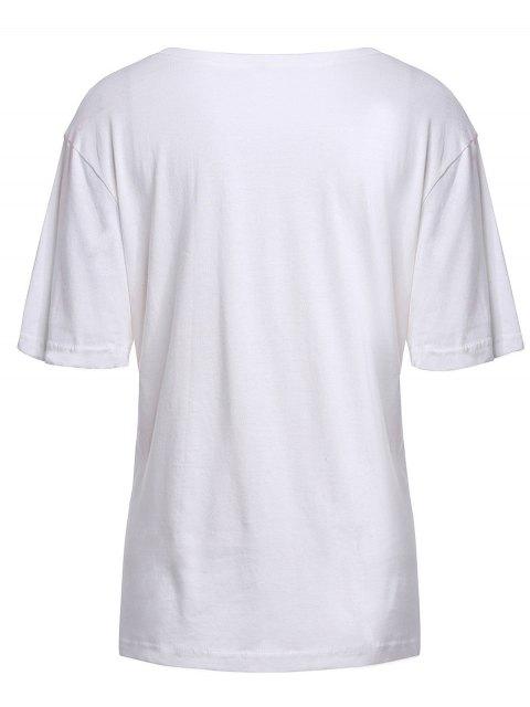 women's Eye Print Short Sleeve T-Shirt - WHITE XL Mobile