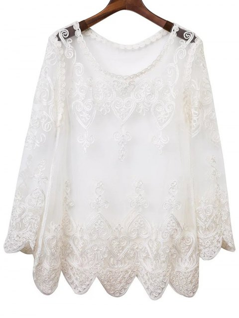 unique See-Through Embroidery Long Sleeve Dress - WHITE S Mobile