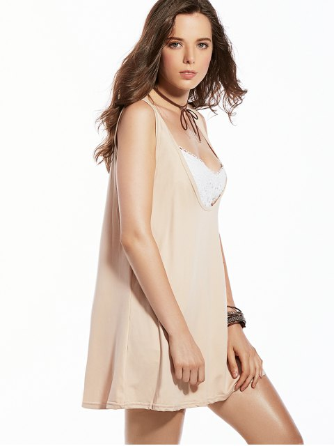women's Sleeveless Solid Color Plunging Neck Dress - APRICOT S Mobile