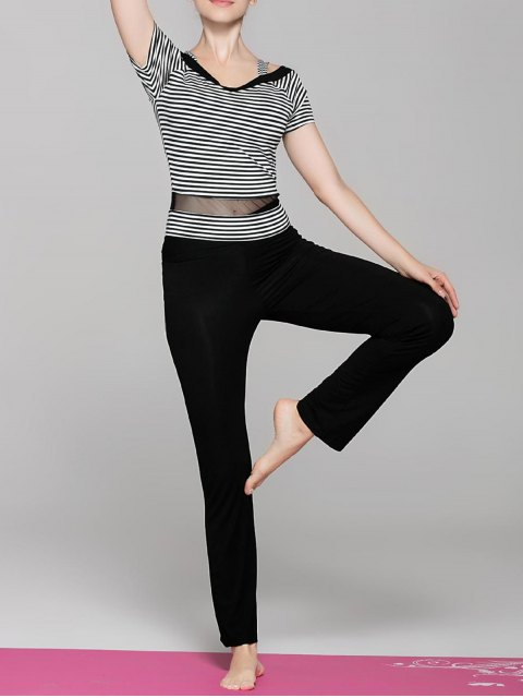 trendy Striped Sport T-Shirt and Yoga Pants - BLACK M Mobile