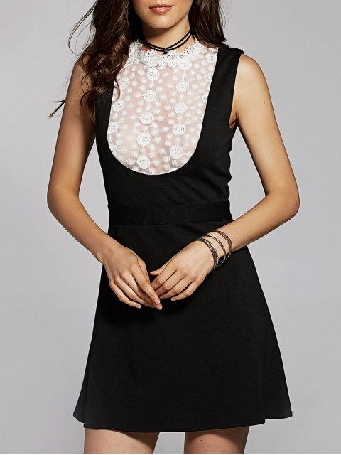 trendy Lace Spliced Stand Neck Sleeveless Dress - BLACK XS Mobile