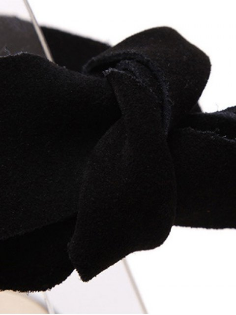 fancy Bow Black Stiletto Heel Sandals - BLACK 38 Mobile