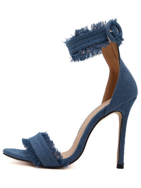 womens Denim Ankle Strap Stiletto Heel Sandals - LIGHT BLUE 37 Mobile