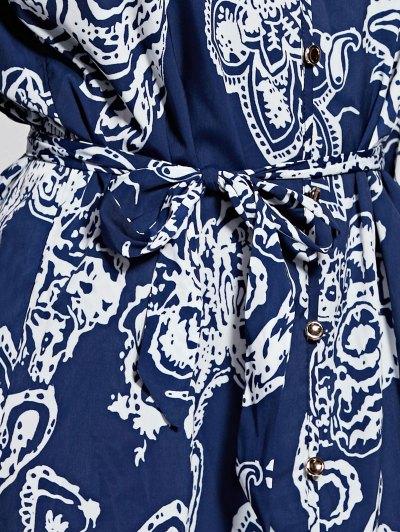 Front Button Printed Blue Dress от Zaful.com INT