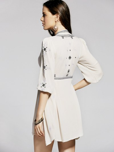 Retro Embroidery Plunging Neck 3/4 Sleeve Dress от Zaful.com INT