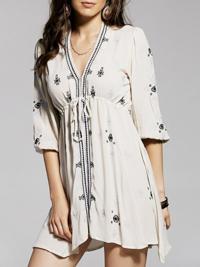 Retro Embroidery Plunging Neck 3/4 Sleeve Dress - NUDE S Mobile