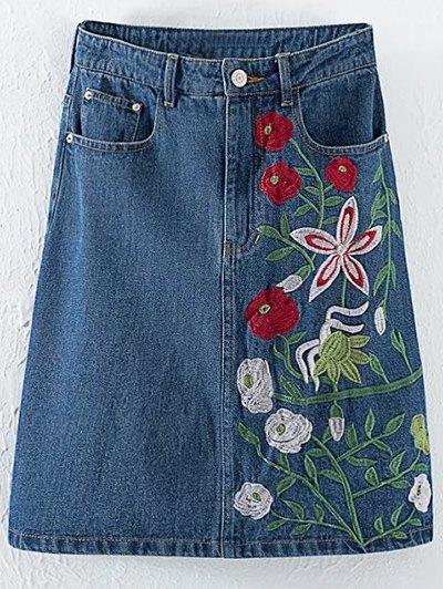 Floral Embroidery High Waisted Denim Skirt - DENIM BLUE L Mobile