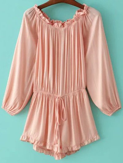 Ruffles Splicing Off The Shoulder Romper