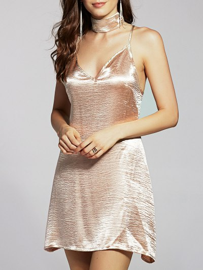 Pure Color Cami Satin Dress - GOLDEN L Mobile
