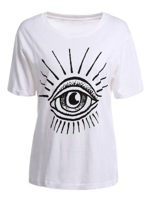 Eye Print Short Sleeve T-Shirt - White