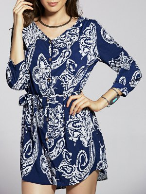 Front Button Printed Blue Dress - Blue