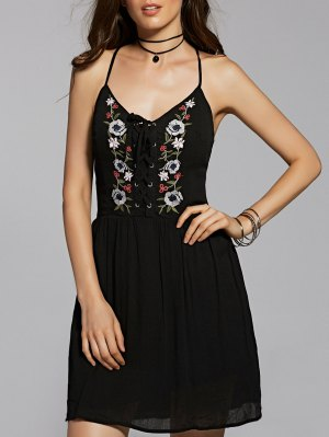 Flower Embroidery Cami A Line Dress - Black