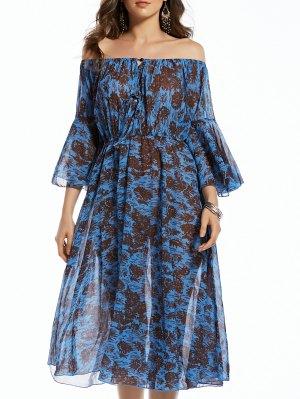 Print Off The Shoulder 3/4 Sleeve Irregular Hem Dress - Purplish Blue