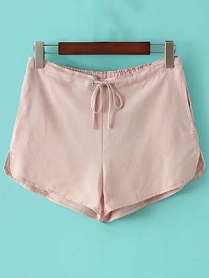 Pure Color Straight Leg Drawstring Shorts - Pink