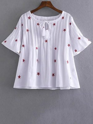 Star Embroidered V Neck Short Sleeve Blouse - White