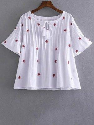 Star Embroidered V Neck Short Sleeve Blouse - White