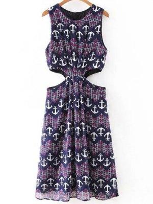 Anchor Print Sleeveless Cut Out Dress