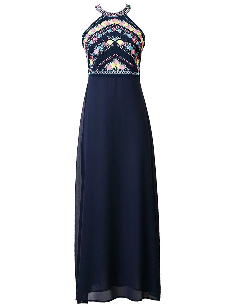 Round Neck Floral Embroidered Maxi Dress