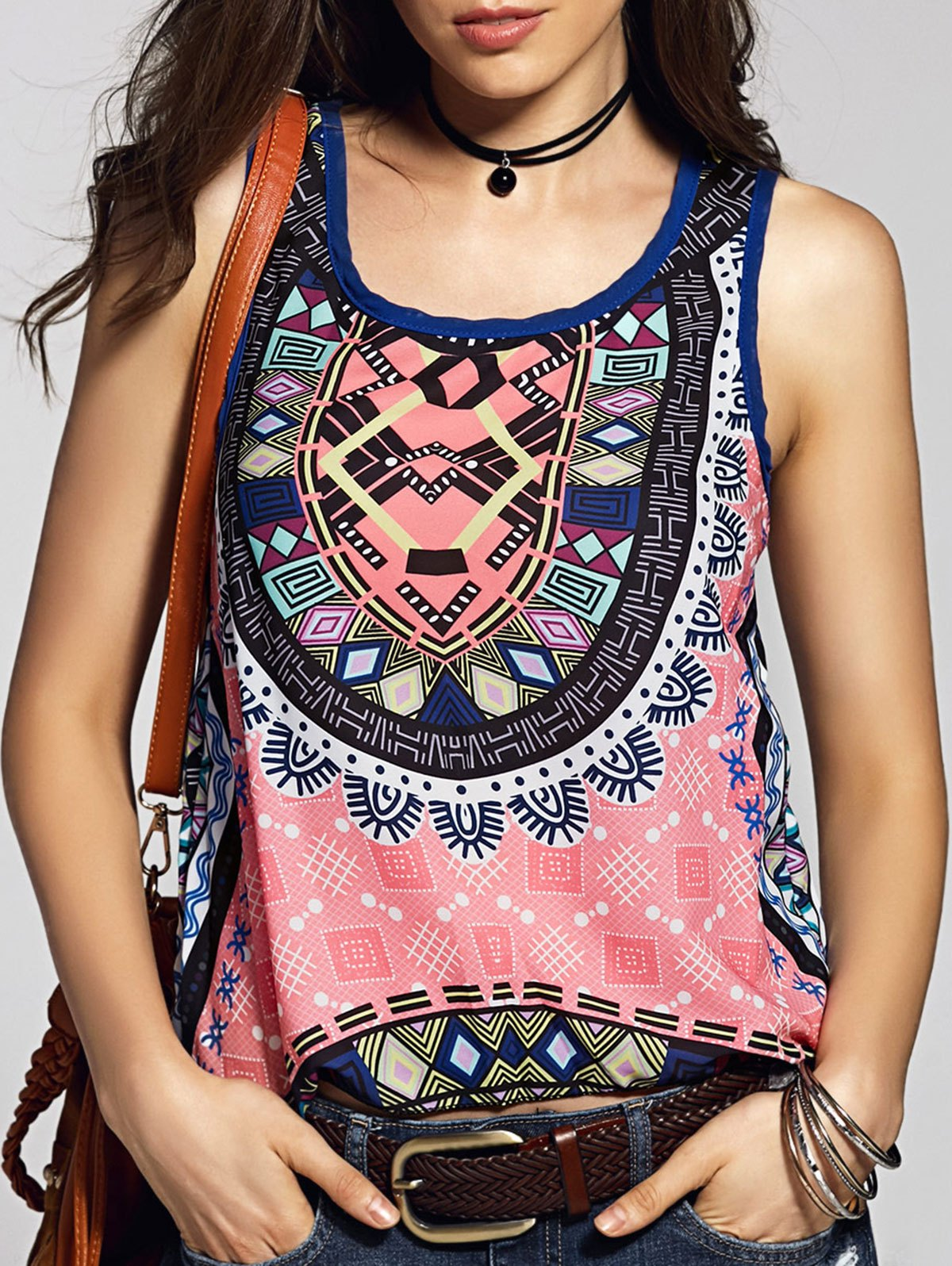 Scoop Neck Printed Tank Top