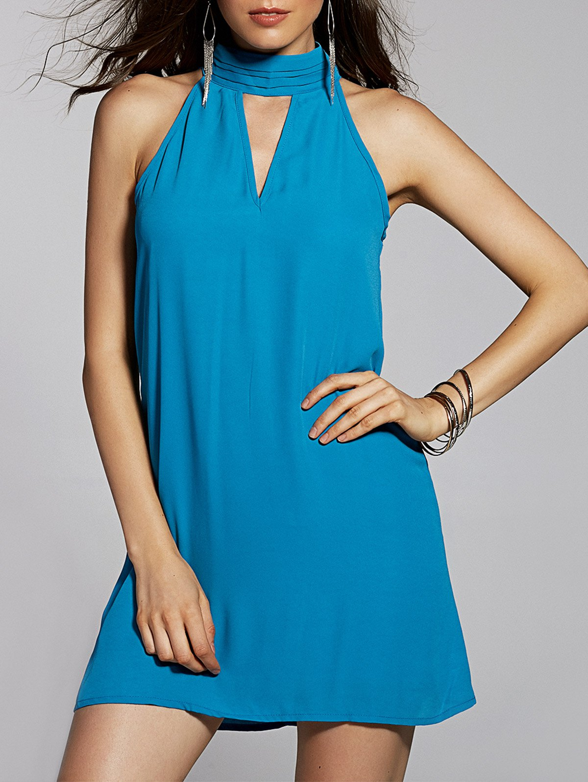 Cut Out Stand Neck Sleeveless Chiffon DressClothes<br><br><br>Size: XL<br>Color: WATER BLUE