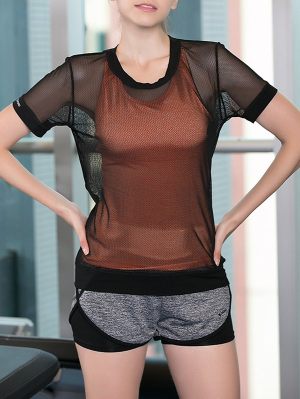 Criss-Cross Tank Top + Shorts + See-Through Blouse Women's Three-Piece Suit