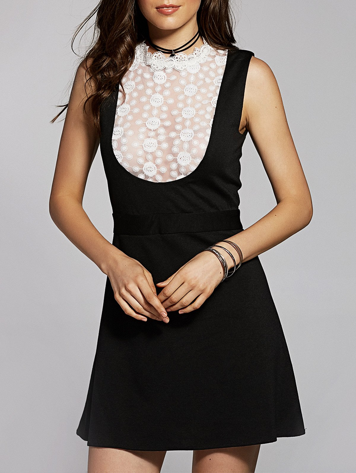 Lace Spliced Stand Neck Sleeveless DressClothes<br><br><br>Size: 2XL<br>Color: BLACK