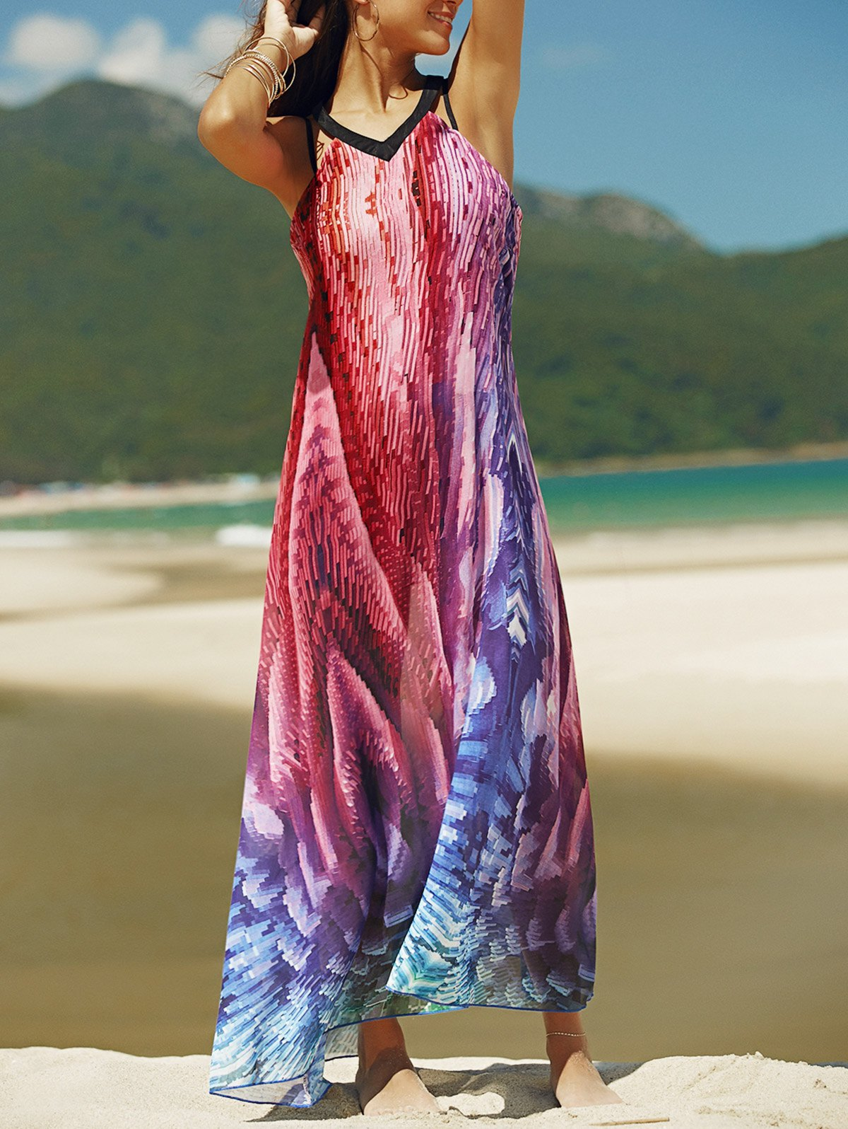 Sleeveless Backless Printed Loose Fitting Maxi Dress