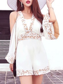 Split Sleeve Lace Trim Playsuit
