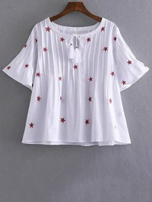 Star Embroidered V Neck Short Sleeve Blouse