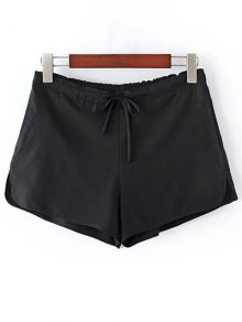 Pure Color Straight Leg Drawstring Shorts - Black