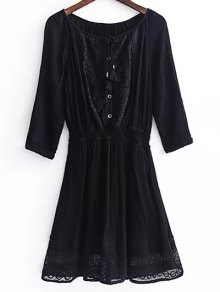 Lace Splice 3/4 Sleeve Black Dress