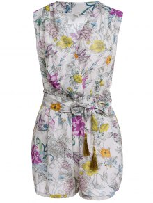 Flower Print V Neck Sleeveless Romper
