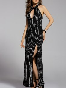 Striped Stand Neck Cut Out Backless Maxi Dress