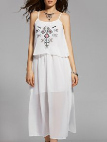 Ethnic Embroidery Cami White Maxi Dress