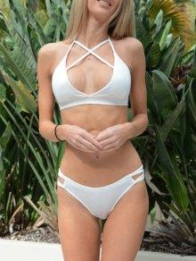 Solid Color Halter Cross Bikini Set