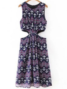 Anchor Print Sleeveless Cut Out Dress