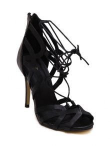 Buy Lace-Up Hollow Peep Toe Sandals - BLACK 40