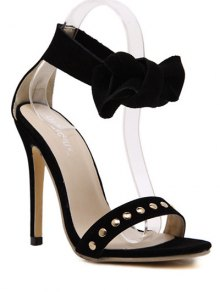 Bow Black Stiletto Heel Sandals