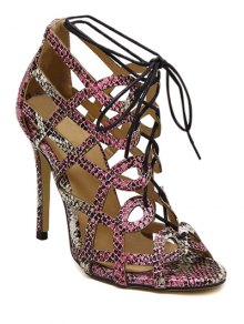 Snake Print Hollow Out Lace-Up Sandals - 38