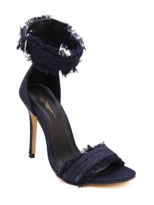 Denim Ankle Strap Stiletto Heel Sandals - Deep Blue 37