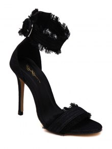 Denim Ankle Strap Stiletto Heel Sandals - Black 38