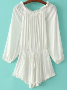 Off The Shoulder Ruffles Splicing Romper