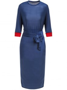 Hit Color Stand Neck 3/4 Sleeve Dress - Purplish Blue M
