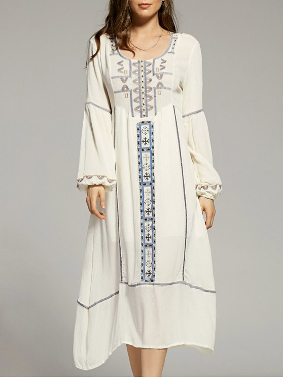 outfit Cut Out Embroidery Scoop Neck Lantern Sleeve Dress - WHITE S