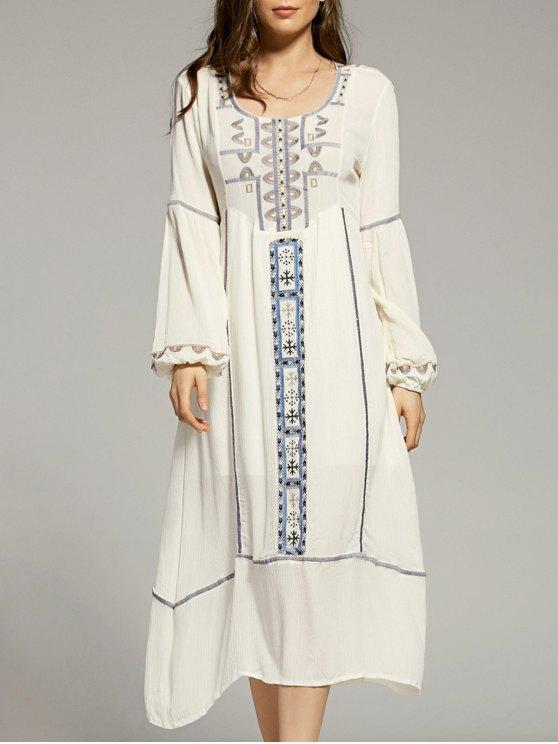 قطع التطريز الرقبة سكوب فانوس كم فستان - أبيض S