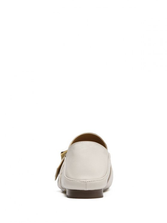 Square Toe Buckle Solid Color Flat Shoes - OFF-WHITE 37 Mobile