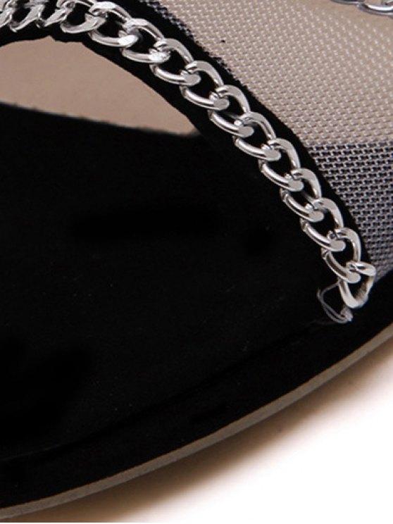 Gauze Chains Stiletto Heel Peep Toe Shoes - BLACK 38 Mobile