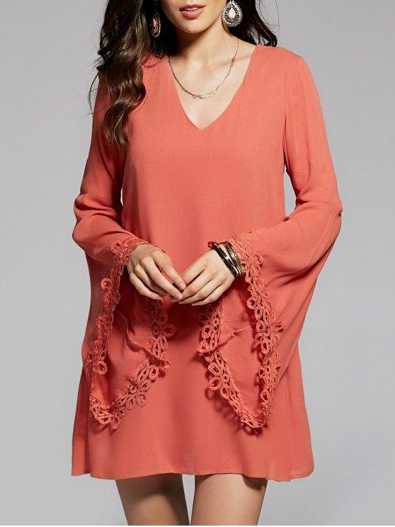 Llamarada de la manga con cuello en V vestido de gasa - Naranja Dulce M